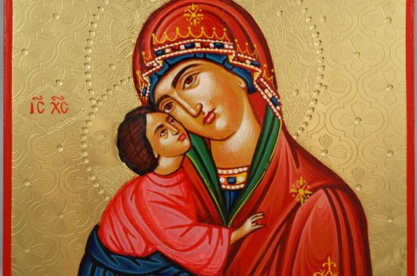 Theotokos Glykophilousa polished gold Hand Painted Greek Orthodox Icon on Wood