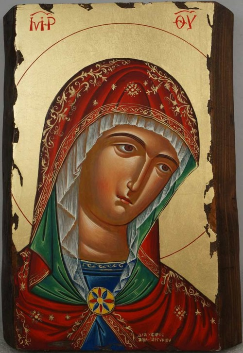 Theotokos Hand Painted Greek Orthodox Byzantine Icon