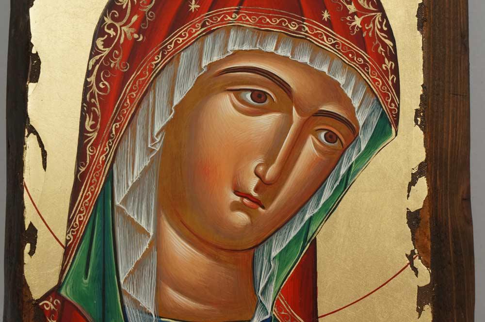 Theotokos Hand Painted Greek Orthodox Byzantine Icon