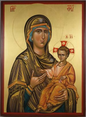 Theotokos Hodegetria Hand Painted Byzantine Orthodox Icon on Solid Wood
