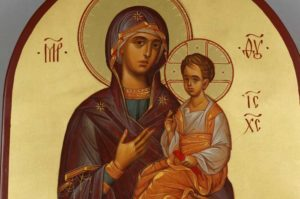 Theotokos Hodegetria full body Guide Hand Painted Byzantine Orthodox Icon on Arched Wood
