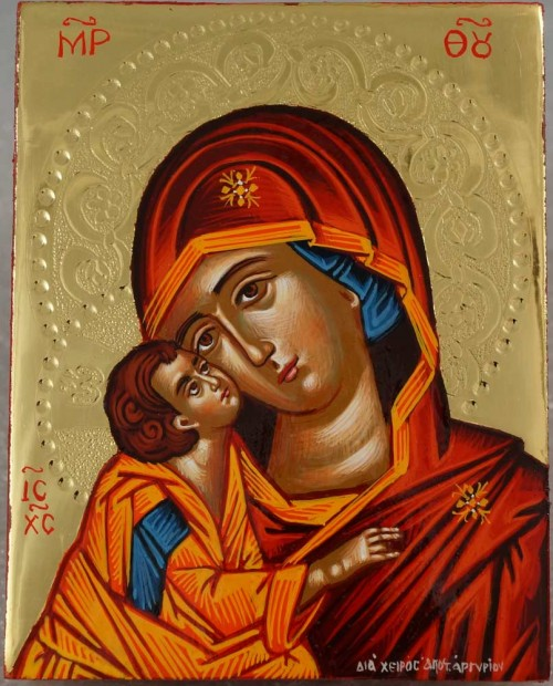Theotokos Sweet Kissing polished gold miniature Hand Painted Greek Orthodox Icon