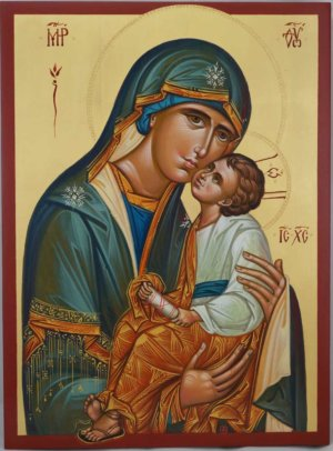 Theotokos Sweet Loving Hand Painted Icon Byzantine Orthodox