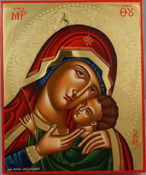 Theotokos Sweet Loving polished gold Hand Painted Greek Orthodox Icon on Wood