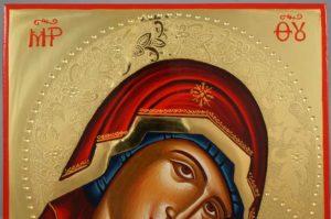 Theotokos Sweet Loving polished gold Hand Painted Greek Orthodox Icon on Wood