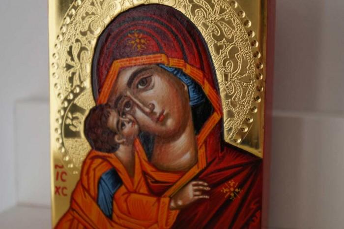 Theotokos Sweet Loving polished gold miniature Hand Painted Greek Orthodox Icon