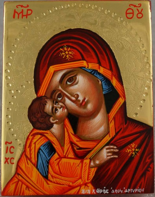 Theotokos Sweet Loving polished gold miniature Hand Painted Greek Orthodox Icon