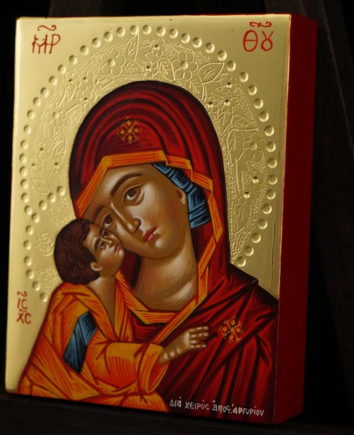Theotokos Sweet Loving polished gold miniature Icon Hand Painted Byzantine Orthodox