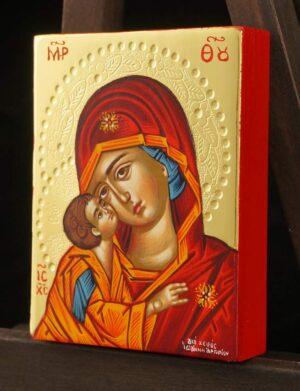 Theotokos Sweet Loving polished gold miniature Icon Hand Painted Greek Orthodox