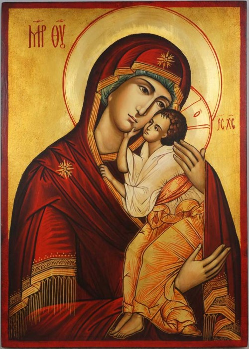 Theotokos Tenderness Hand Painted Orthodox Icon on Wood