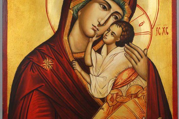 Theotokos Tenderness Hand Painted Orthodox Icon on Wood