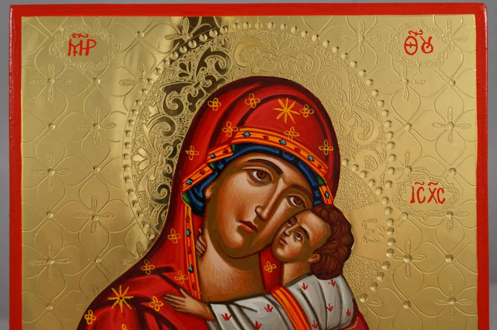 Theotokos Tenderness polished gold Hand Painted Greek Orthodox Icon on Wood