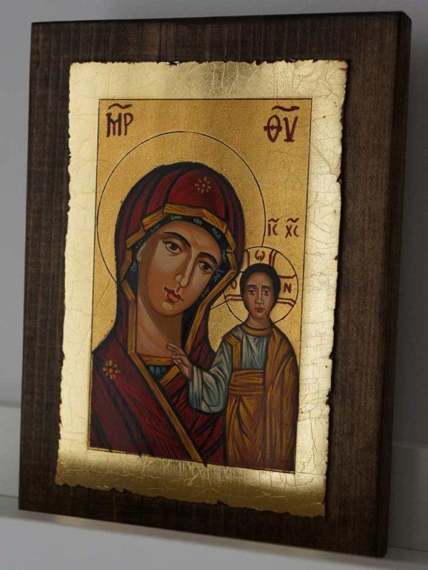 Theotokos of Kazan small Hand Painted Orthodox Icon on Wood
