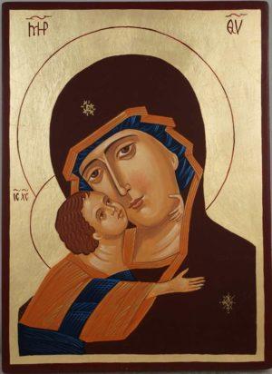 Theotokos of Vladimir Vladimirskaya Hand Painted Orthodox Icon