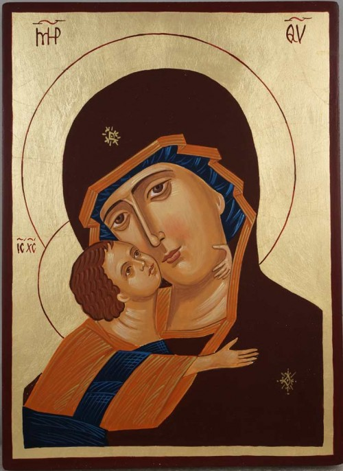Theotokos of Vladimir Vladimirskaya Hand Painted Orthodox Icon