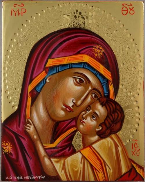 Virgin Mary Eleusa polished gold miniature Hand Painted Greek Orthodox Icon