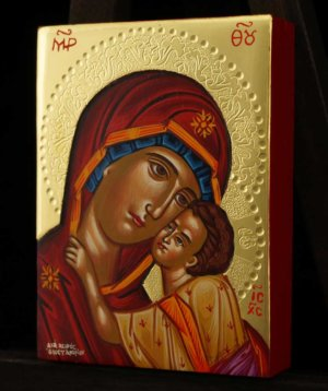 Virgin Mary Eleusa polished gold miniature Icon Hand Painted Byzantine Orthodox