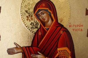 Virgin Mary Panagia Gerontissa Hand Painted Greek Orthodox Icon