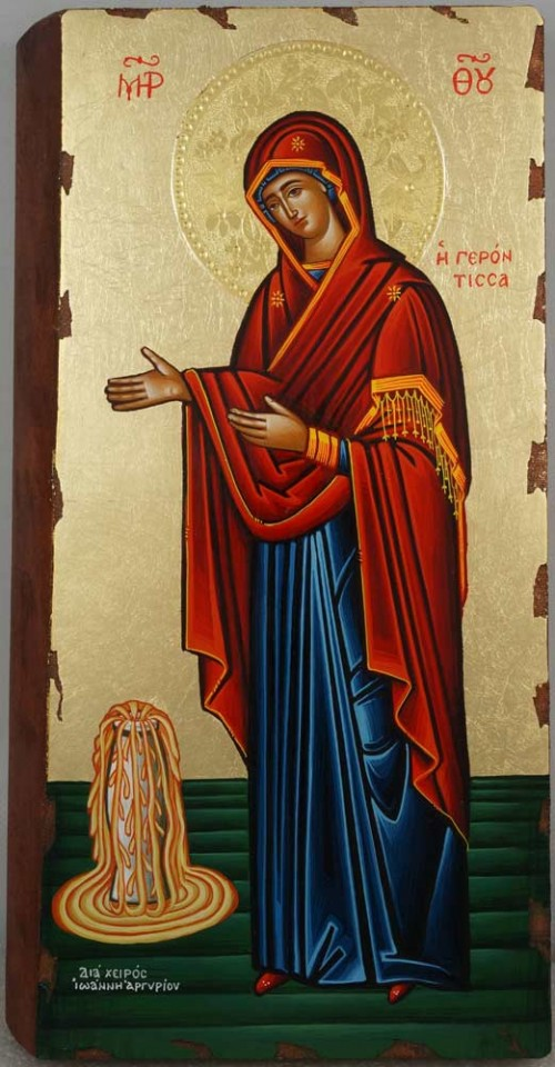 Virgin Mary Panagia Gerontissa Hand Painted Greek Orthodox Icon
