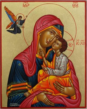 Virgin Mary Tenderness Hand Painted Greek Orthodox Icon Byzantine