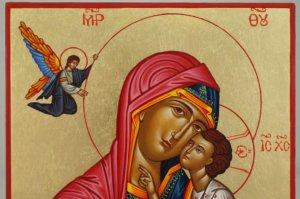 Virgin Mary Tenderness Hand Painted Greek Orthodox Icon Byzantine