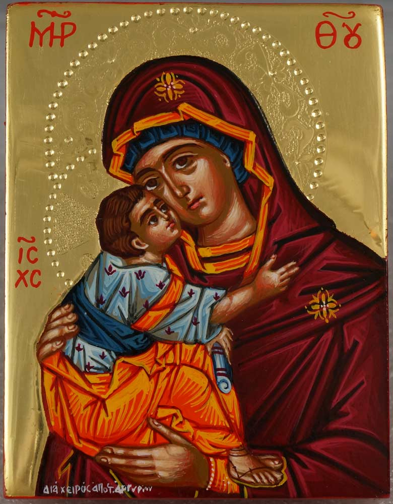 Virgin of Tenderness polished gold miniature Greek Icon Hand Painted Orthodox