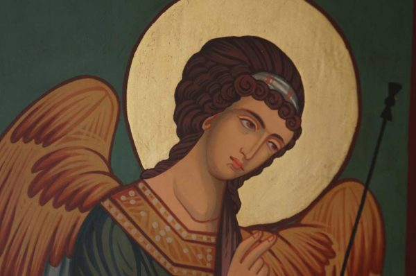 St Archangel Gabriel Hand Painted Byzantine Orthodox Icon on Wood