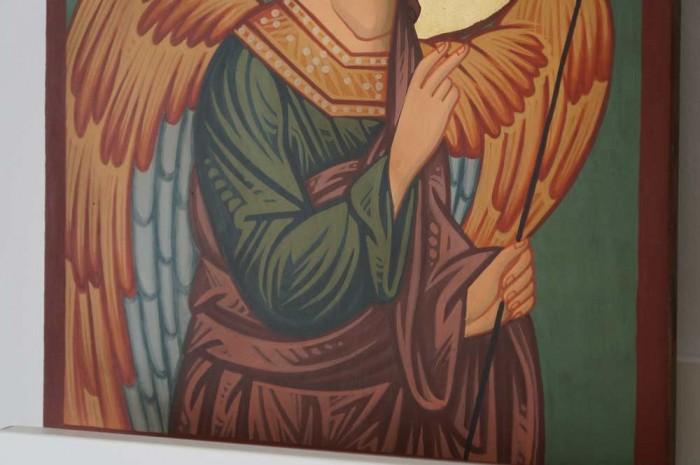 St Archangel Gabriel Hand Painted Byzantine Orthodox Icon on Wood