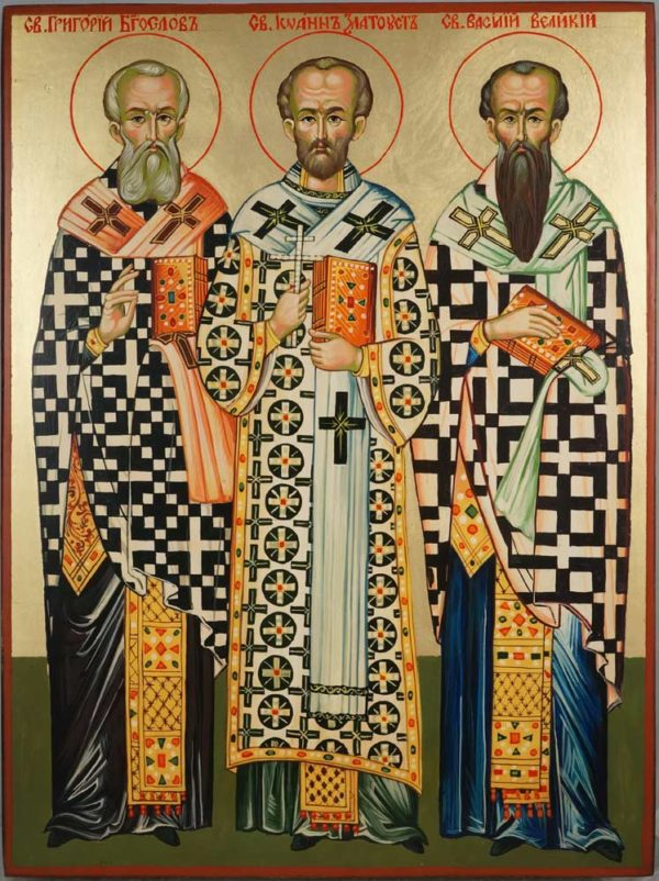 The Three Holy Hierarchs Hand Painted Byzantine Orthodox Icon on Wood