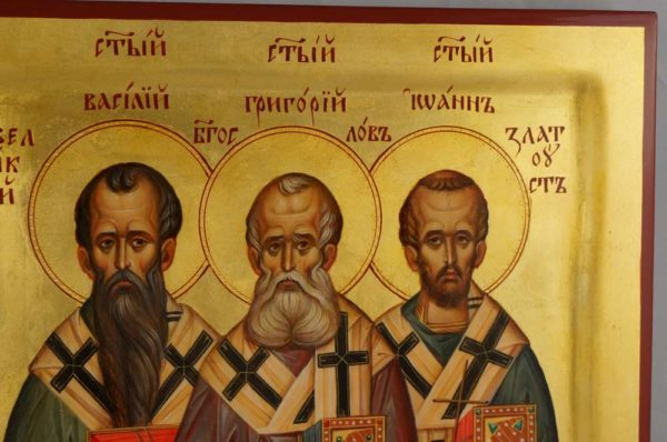 Three Holy Hierarchs full bodies Hand Painted Byzantine Orthodox Icon on Wood