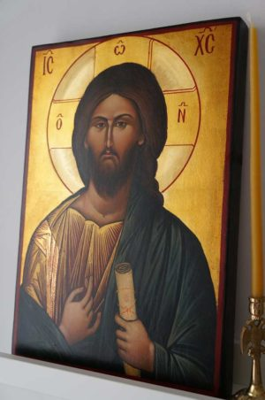 Christ Blessing Vatopedi Large Hand Painted Byzantine Orthodox Icon