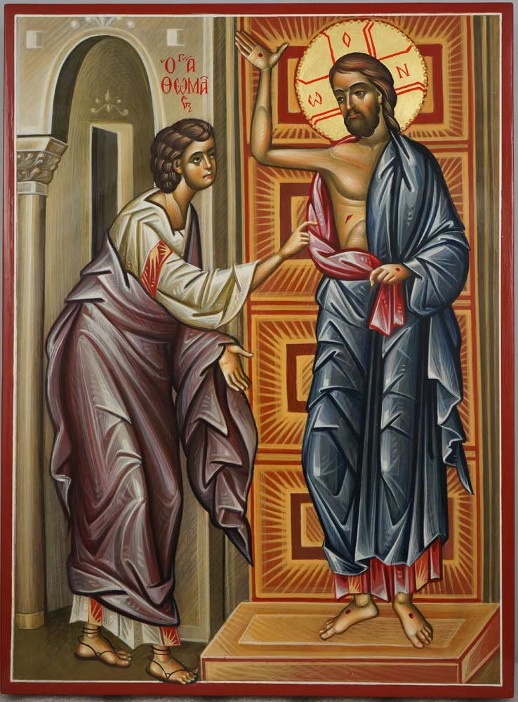 Doubting Thomas Hand Painted Orthodox Icon Touch of Thomas