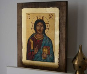 Jesus Christ Pantocrator closed book Hand Painted Orthodox Icon