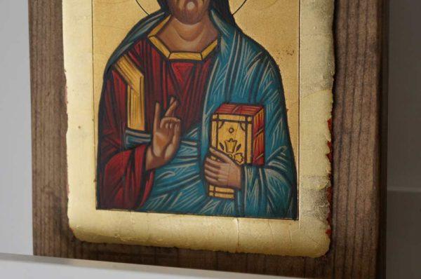 Jesus Christ Pantocrator closed book Hand Painted Orthodox Icon
