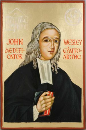 John Wesley Hand Painted Icon on Wood