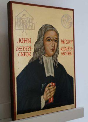 John Wesley Hand Painted Icon on Wood
