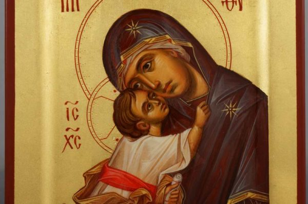 Mother of God Eleusa Chora Miniature Hand Painted Byzantine Icon