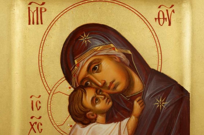 Mother of God Eleusa Chora Miniature Hand Painted Byzantine Icon