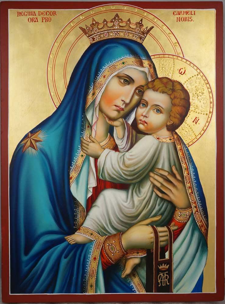 Our Lady of Mount Carmel Hand Painted Roman Catholic Icon on Wood