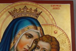 Our Lady of Mount Carmel Hand Painted Roman Catholic Icon on Wood