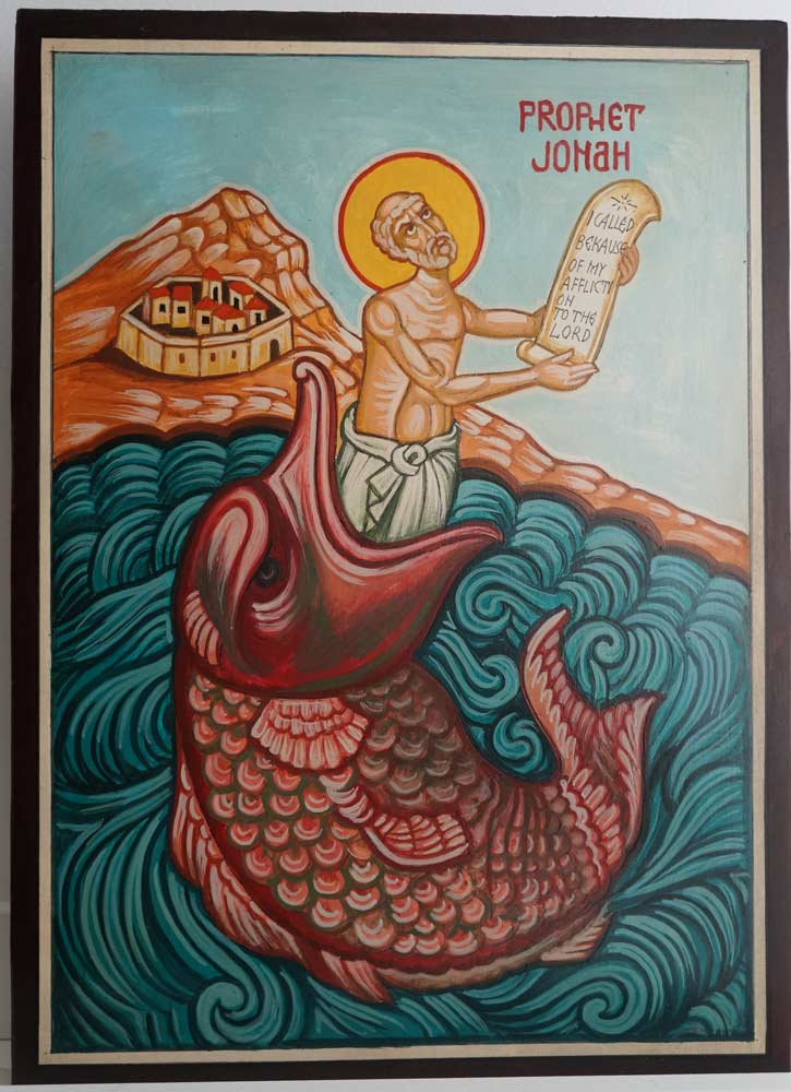 Prophet Jonah and the Whale Hand Painted Orthodox Icon