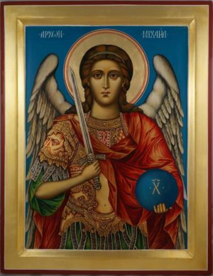 Saint Archangel Michael Hand Painted Icon on Wood Orthodox