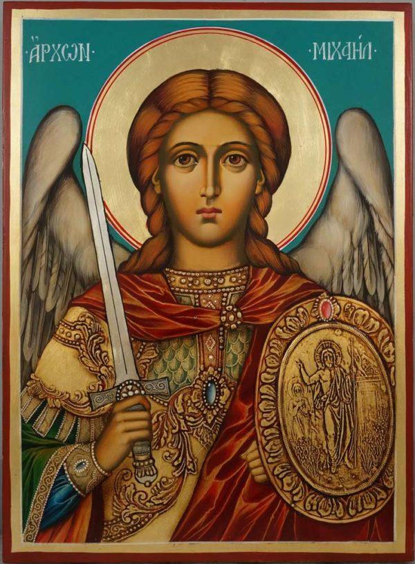 Saint Archangel Michael Hand Painted Orthodox Icon on Wood