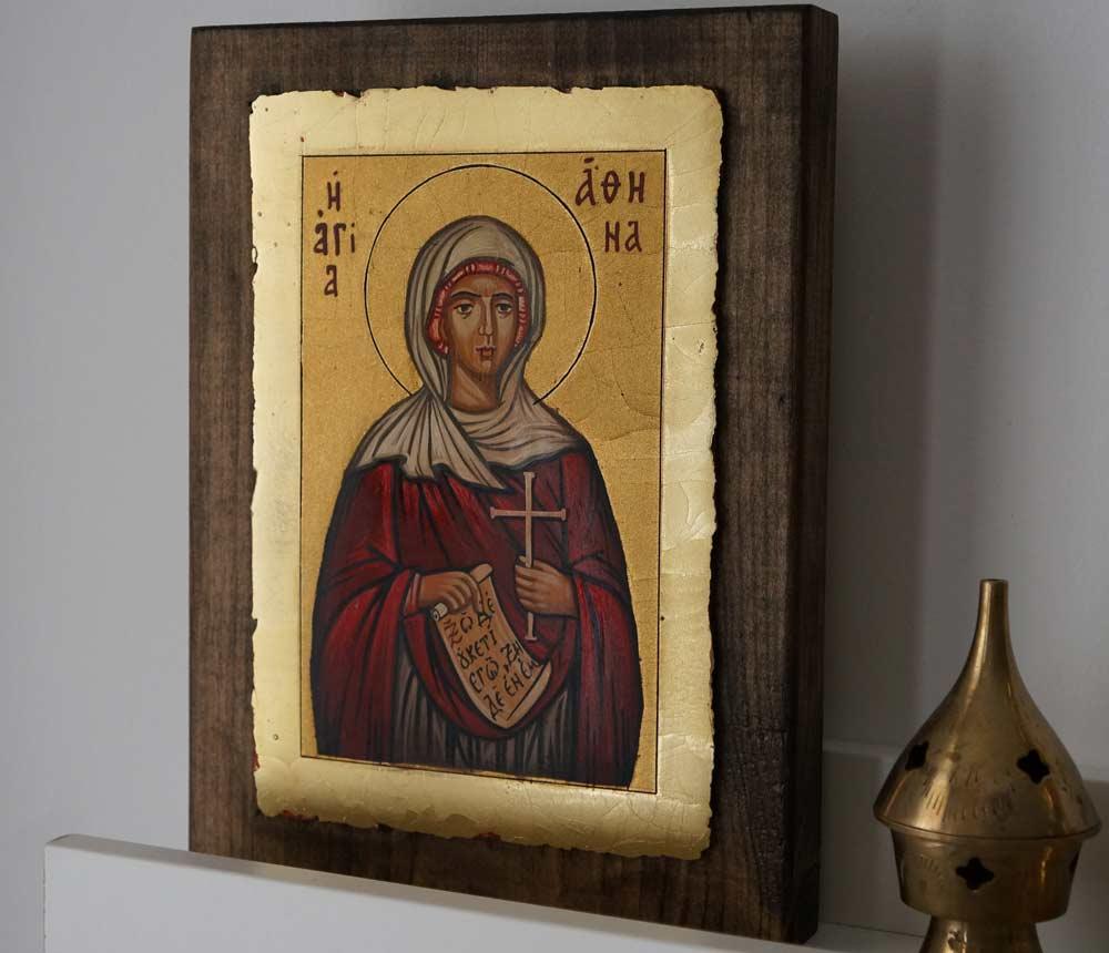 Saint Athena Hand Painted Greek Orthodox Icon