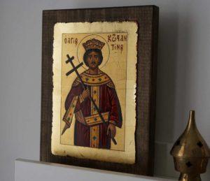 Saint Constantine Hand Painted Greek Orthodox Icon