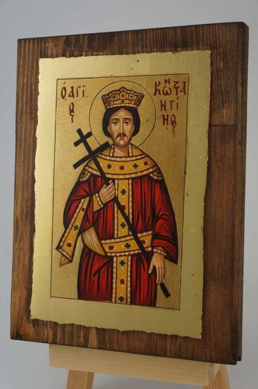 Saint Constantine small Icon Hand Painted Byzantine Orthodox