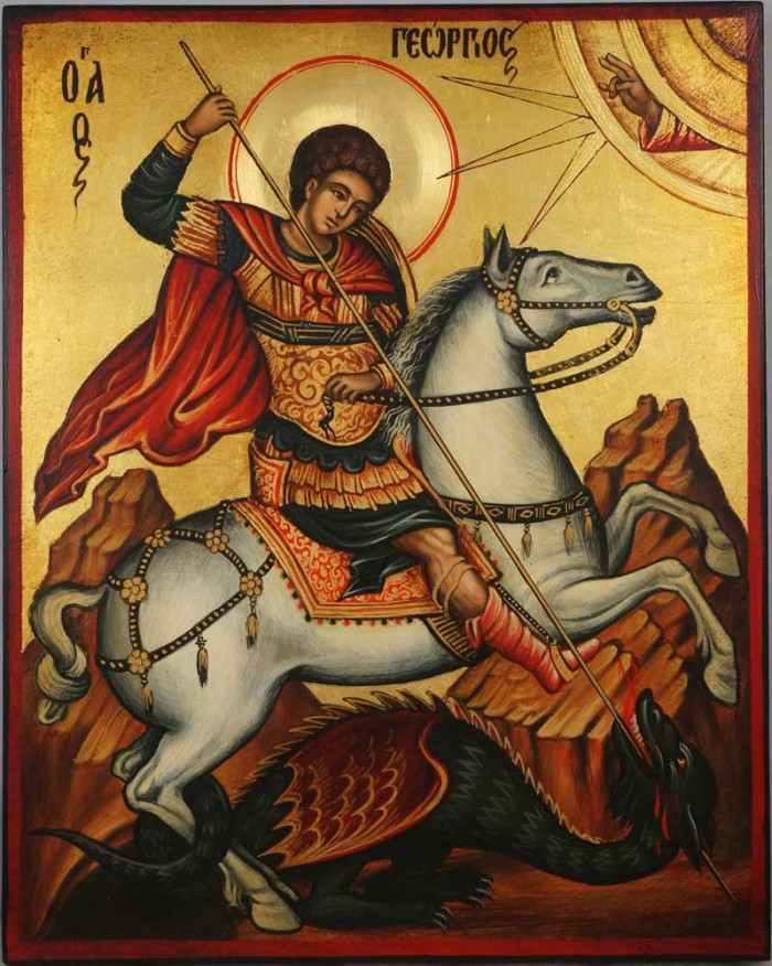 Saint George Icon Slaying the Dragon Hand Painted Orthodox