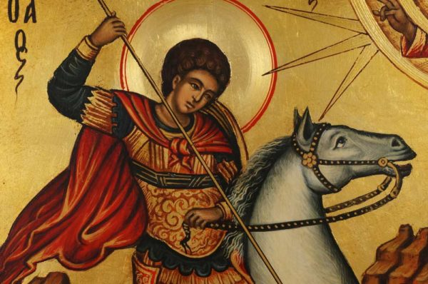 Saint George Icon Slaying the Dragon Hand Painted Orthodox