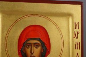 Saint Marina the Great Martyr raised border Hand Painted Icon