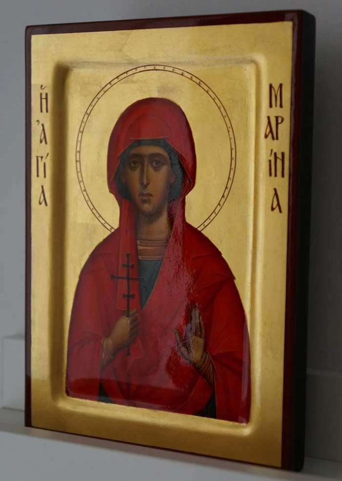 Saint Marina the Great Martyr raised border Hand Painted Icon